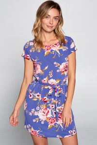 Vibrant Floral Print Dress with Waist Tie