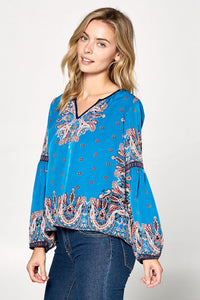 LONG SLEEVE PRINT TOP WITH NOTCH NECK