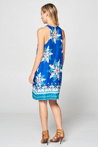 Blue Paisley Border Print Dress