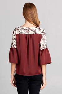 Floral Embroidery Two Tone Top