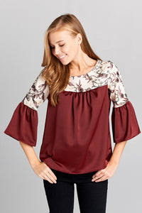 TWO TONE FABRIC TOP FLORAL EMBROIDERY