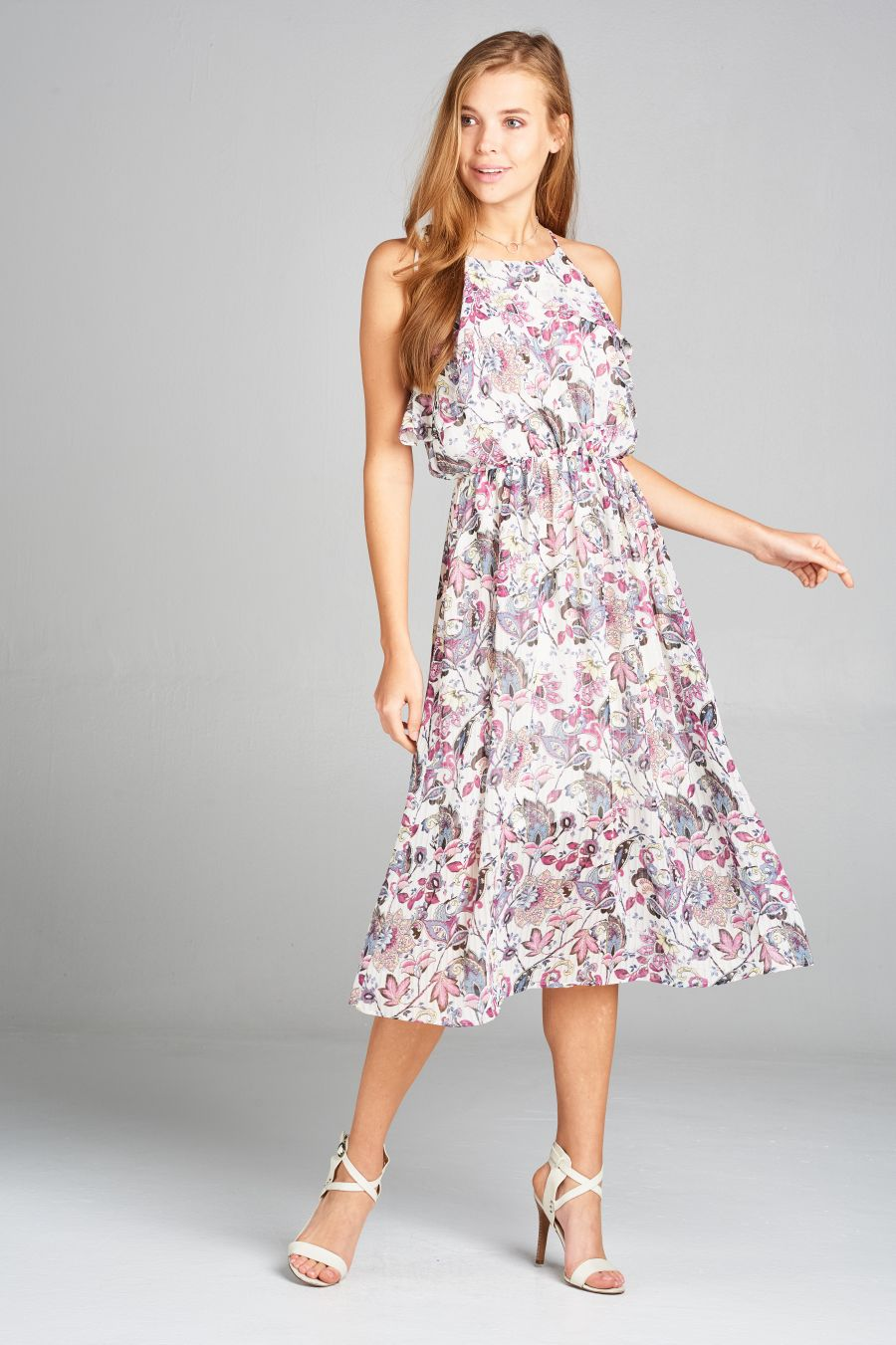 Floral Print Ruffled Top Dress