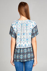 SHORT SLEEVE BORDER PRINT TOP