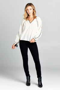 V-Neck Long Sleeve Linen Top
