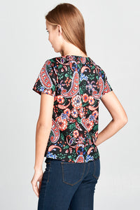 SHORT SLEEVE PRINT VELVET TOP