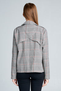 CHECKERED LONG SLEEVE TOP WITH FRONT POCKETS