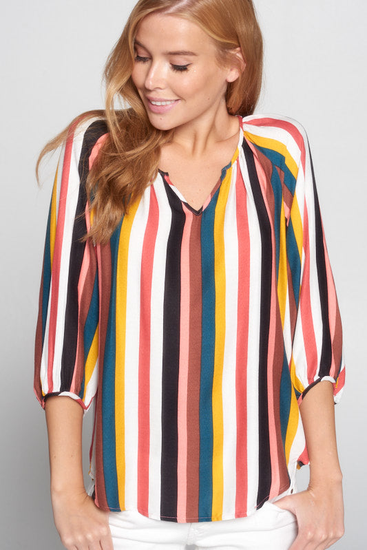 Multicolor Stripe 3/4 Sleeves V Neck Top