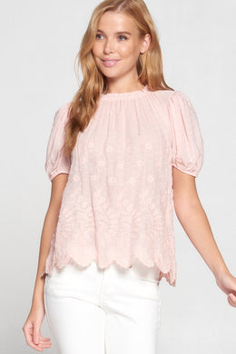 Pink Embroidered Short Sleeve Top