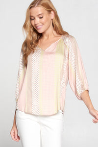Geo & Stripes Print 3/4 Sleeve V Neck Top