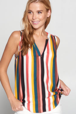 Striped V Neck Sleeveless Top