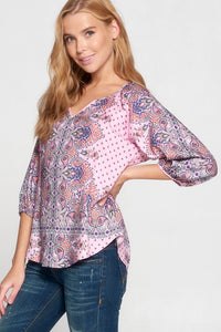 PAISLEY PRINT V NECK BLOUSE WITH 3/4 SLEEVE