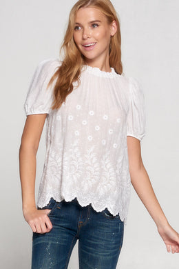 White Embroidered Short Sleeve Top