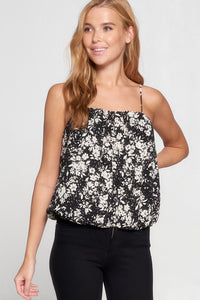 Square Neck Top With Adjustable Spaghetti Straps