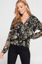 Abstract Print Sheer Surplice Blouse