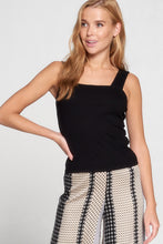 Black Square Neck Rib Knit Top