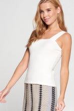 White Square Neck Rib Knit Top
