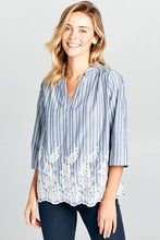 3/4 SLEEVE STRIPED EMBROIDERED TOP