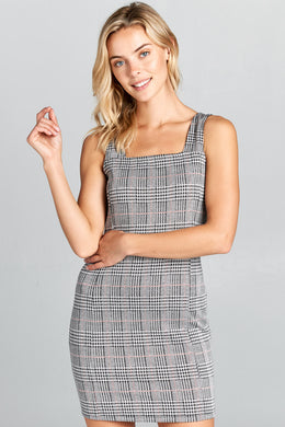 Plaid Bodycon Sleeveless Dress