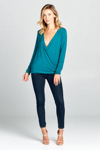 NATURAL BAMBOO LONG SLEEVE SURPLICE TOP