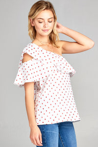 ONE SHOULDER POLKA DOT RUFFLE TOP