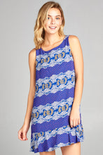 Royal Blue Shift Dress with Ruffle Hem