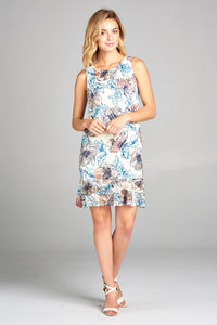 SLEEVELESS FLORAL DRESS WITH RUFFLE DETAIL