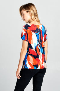 Abstract Print Short Sleeve Top