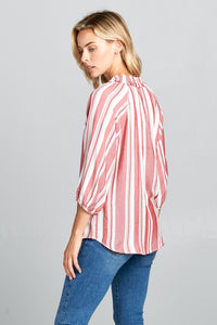 LONG SLEEVE STRIPED TOP WITH RUFFLED NECK