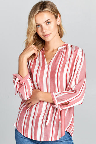 V-NECK STRIPED TOP WITH SELF TIE SLEEVES