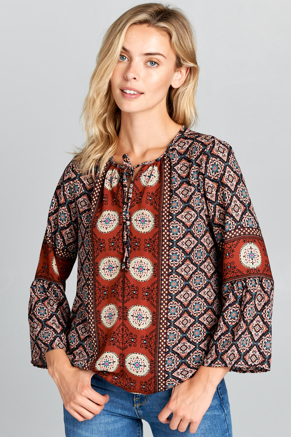 BELL SLEEVE PRINT TOP