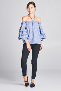 PINSTRIPE OFF THE SHOULDER PUFF SLEEVE TOP