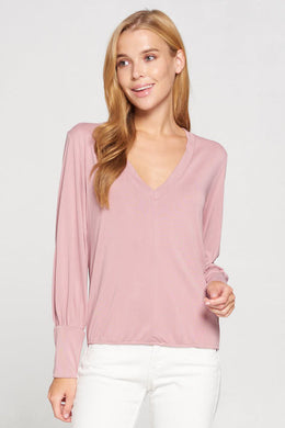 Modal Sand Washed Knit V neck Top with Cuffed Puff Sleeve