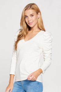 Ruched Sleeve V-neck Knit Top