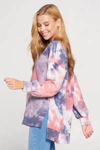 Tie Dye Sweatshirt with Side Slit