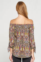 Paisley Off the Shoulder Top with Self Tie Sleeves