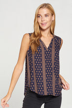 Navy Boho Print Sleeveless Top
