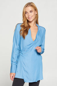 Dark Blue Crossover Tunic Top