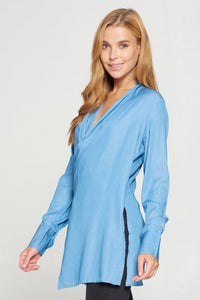 Light Blue Crossover Tunic Top