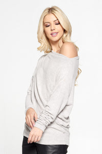 Heather Grey Knit Off the Shoulder Top