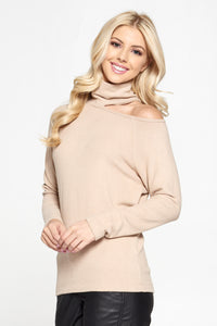 Taupe Cold Shoulder Turtleneck Top