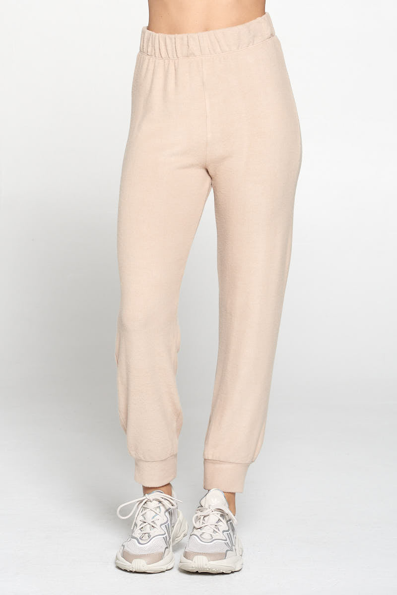 Taupe Brushed Knit Jogger Pants