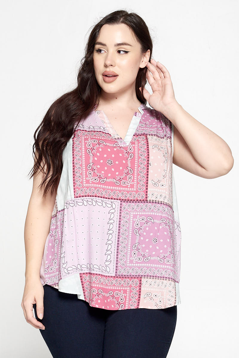 Bandana Print Sleeveless V Neck Top