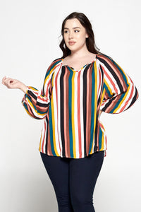 Multicolor Stripe 3/4 Sleeve V Neck Top
