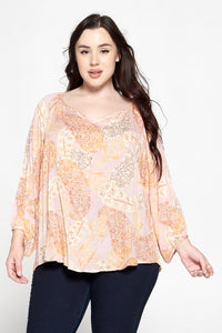 Boho Print 3/4 Sleeve V Neck Top
