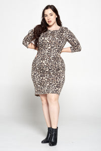 Leopard Print Dress with Ruched Side Detail