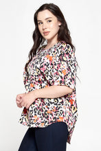 Multicolor Animal Print Top with Puff Short Sleeve