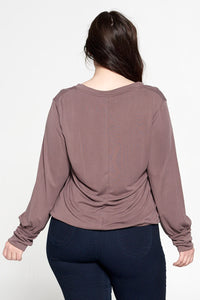 Solid V neck Top with Cuffed Sleeve