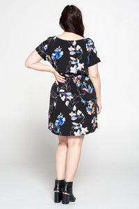 Abstract Floral Print Knit Dress With Waist Tie
