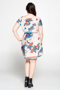 Peacock Jersey Dress with Waist Tie