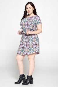 Tile Abstract Flower Print Dress with Waist Tie